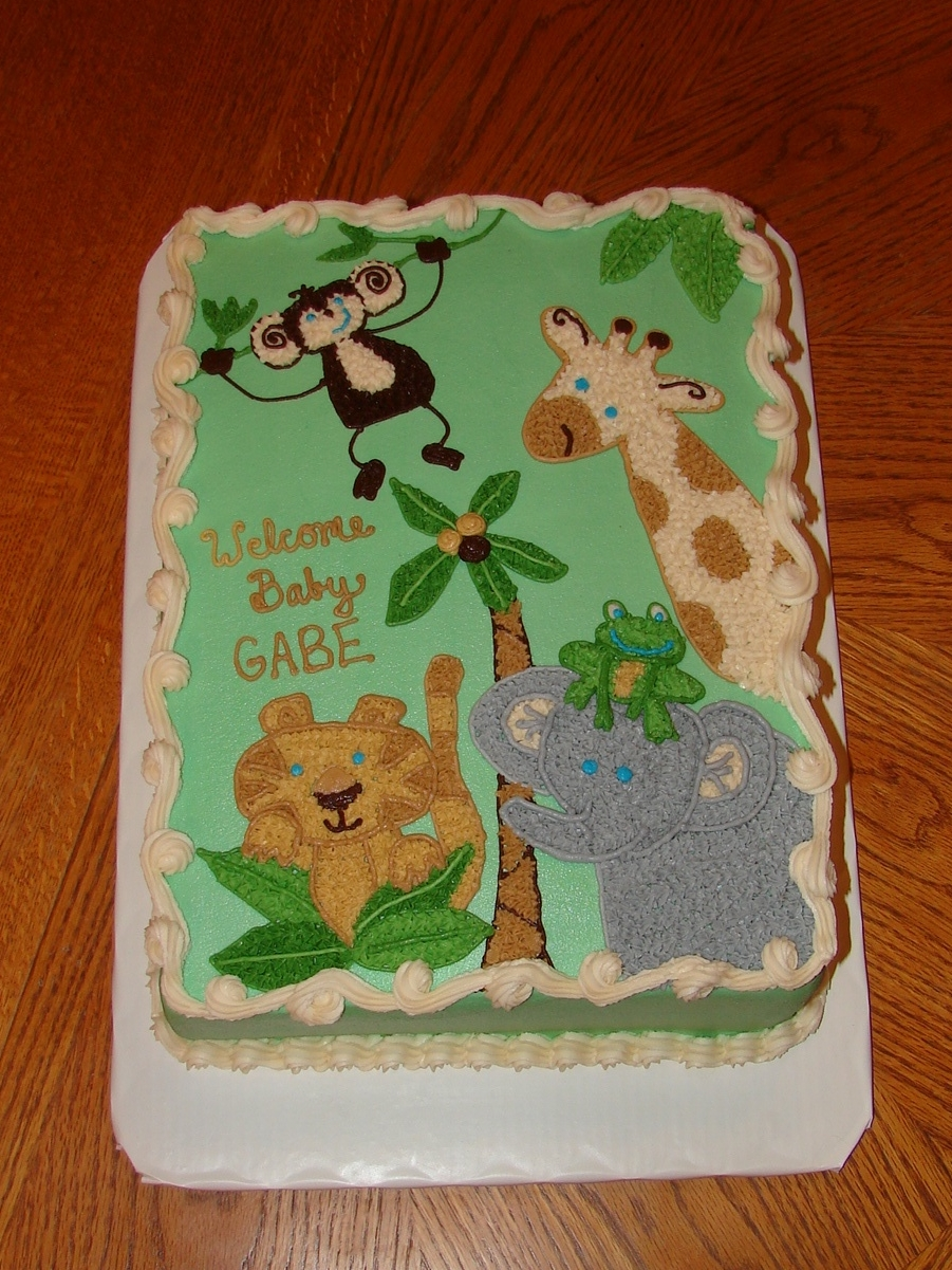 Baby Shower Cake Sayings Jungle Theme