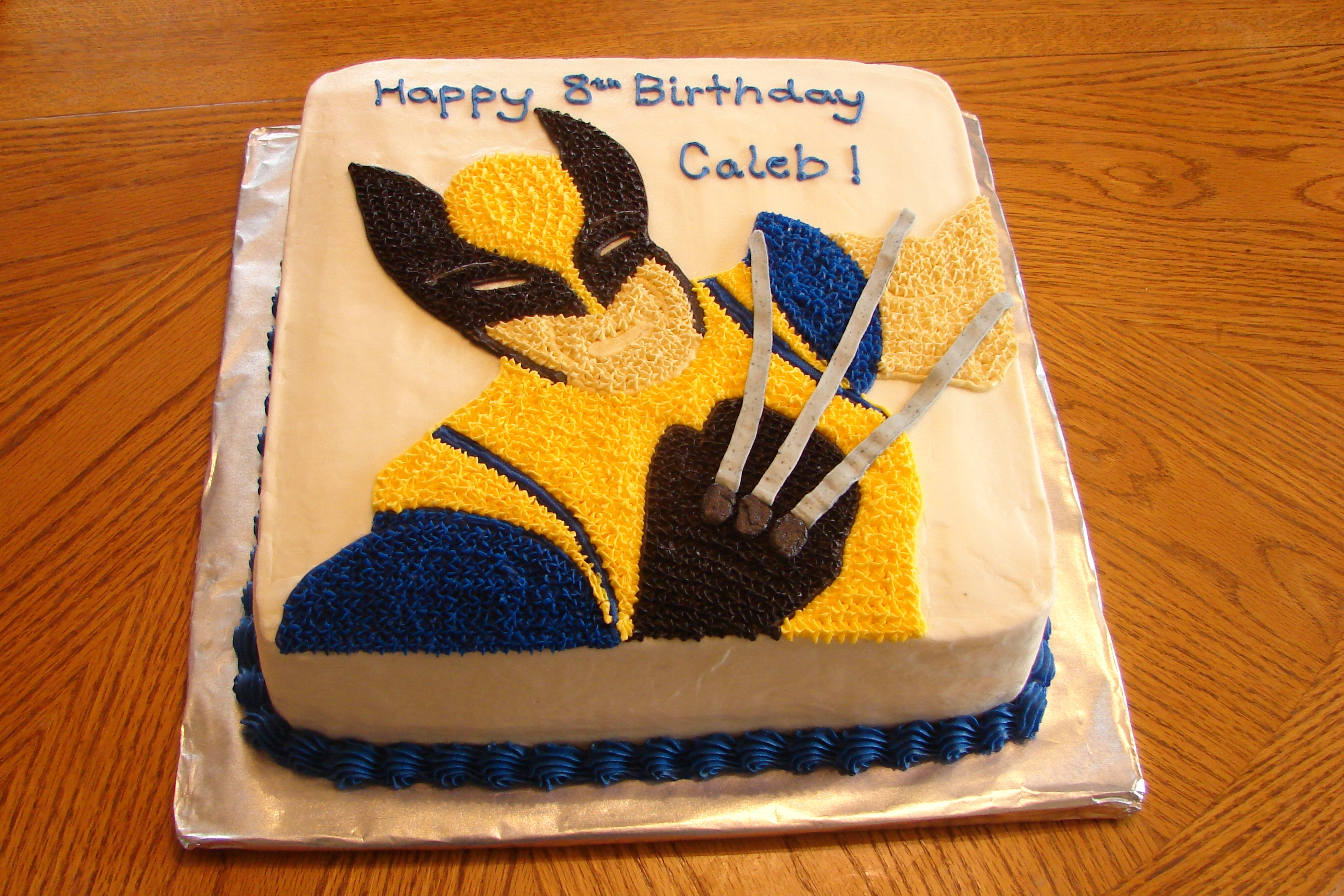 X-men Wolverine birthday cake made as a 2-layer chocolate cake in a ...