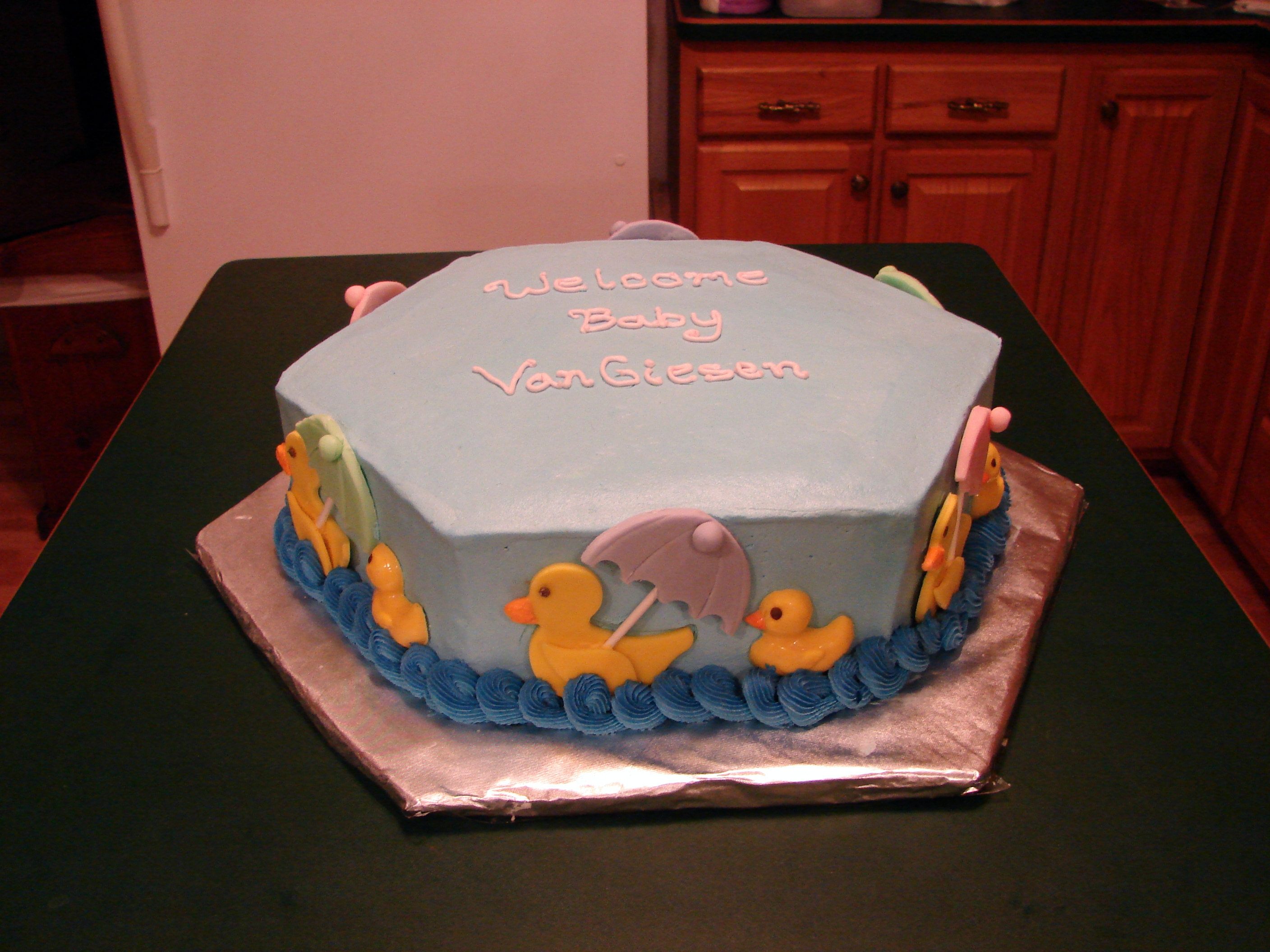 Rubber Ducky Baby Shower Cake 2 Layer 15 Hexagon Chocolate Small
