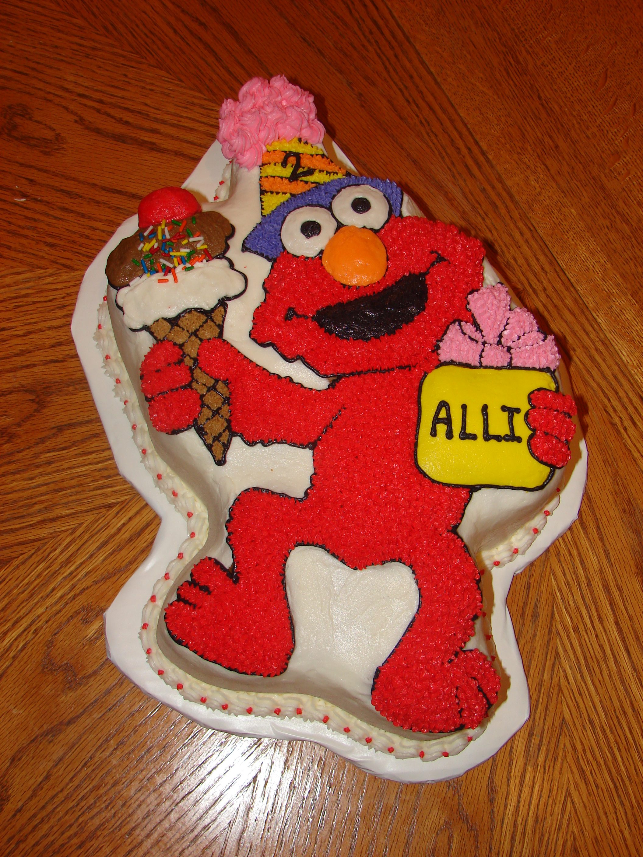 Elmo Cake For A 2nd Birthday This Was Made With The Pan As 2 Layer So It Would Serve 25
